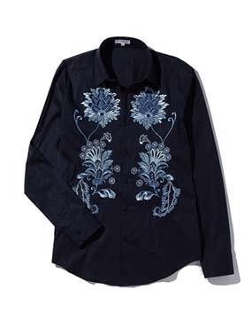 【MEN'S】フロント刺繍長袖シャツ