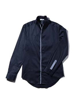【MEN'S】エッジデザインスタンドカラー長袖シャツ