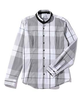 【Men's】ビックチェックバンドカラー長袖シャツ