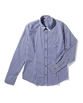 【MEN'S】2枚襟ロンドンストライプ長袖シャツ