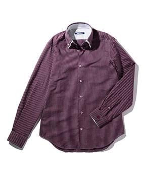 【MEN'S】ストライプ2枚襟長袖シャツ