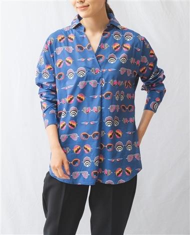 サングラスプリント長袖スキッパーシャツ