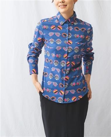 サングラスプリント長袖シャツ