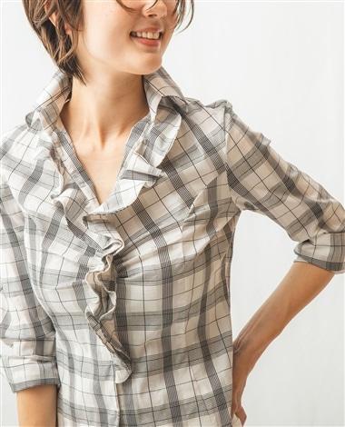 チェックスーパーストレッチ襟付きフリル七分袖シャツ