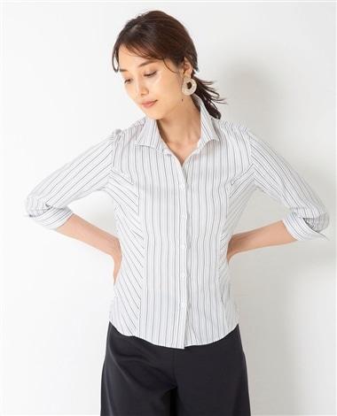 SCAMPIAストライプスタンドカラー七分袖シャツ