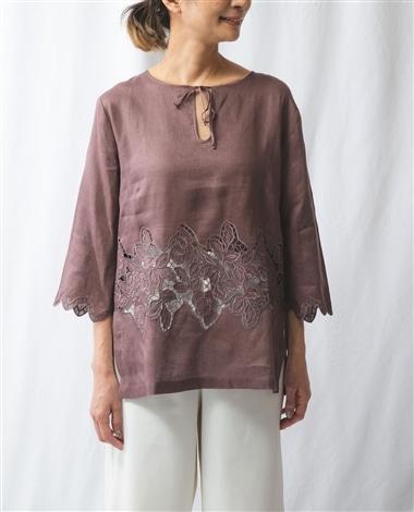 カットワーク刺繍プルオーバー七分袖ブラウス