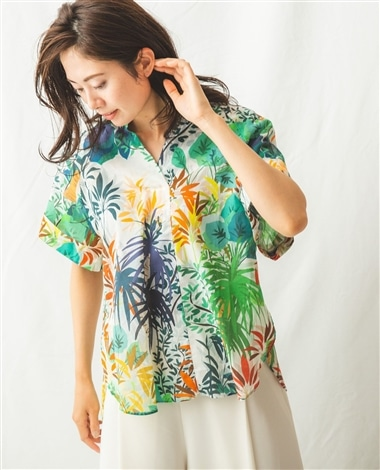 トロピカル綿ボイルプリント半袖ビッグシャツ