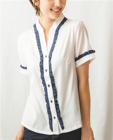 バイカラーフリル半袖シャツ
