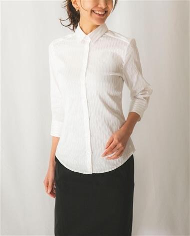 サテンストライプ七分袖シャツ