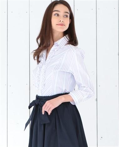 イタリアンストライプ衿付フリルシャツ