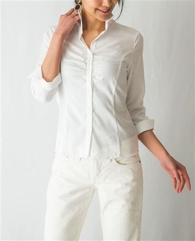 コットンツイルスタンドカラー七分袖シャツ