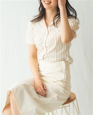 イタリアン細ストライプスタンドカラー半袖シャツ