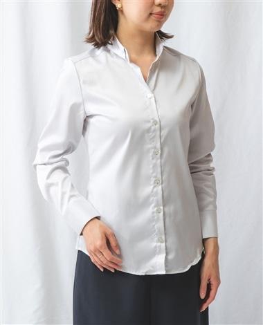 コットンツイルスモールカラー長袖シャツ