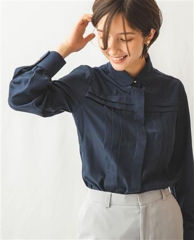 ファインラスターサテン切替タック長袖シャツ