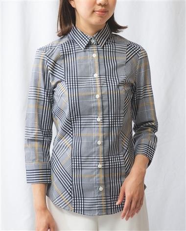 イタリアンチェック切替七分袖シャツ