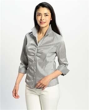 細ストライプスタンドカラー七分袖シャツ