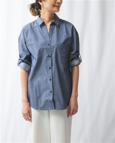 シャンブレー調ビッグシャツ