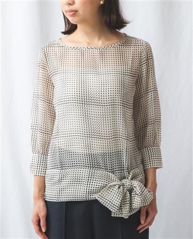 《セットアップ対応》モノトーンプリント裾リボン七分袖ブラウス