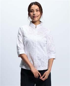 エンブロイダリースタンドカラー半袖シャツ