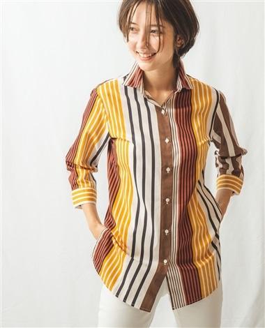 ランダムストライプ七分袖ロングシャツ