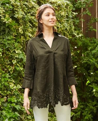 イタリアン麻カットワークチュニックシャツ
