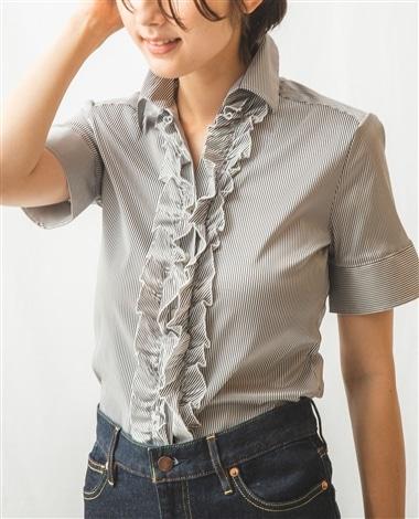 細ストライプフロントフリル半袖シャツ