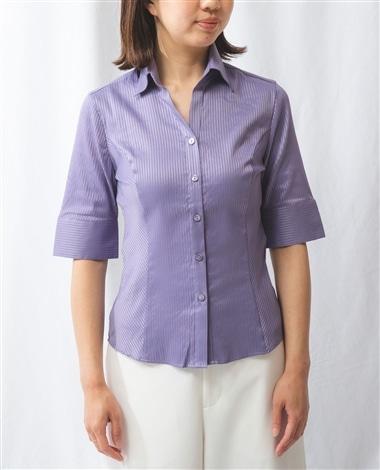 サテンストライプ半袖シャツ