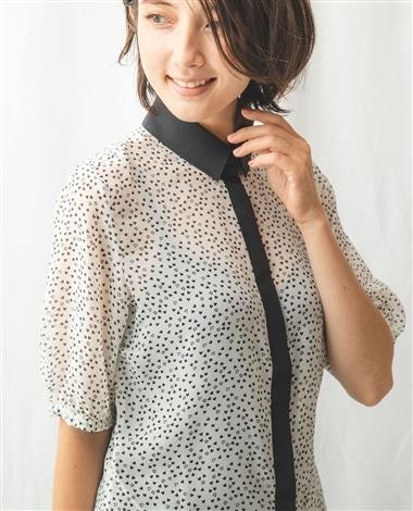 ハートプリントクレリック半袖シャツ