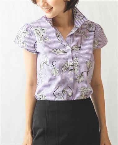 フラワープリントチューリップスリーブストライプシャツ