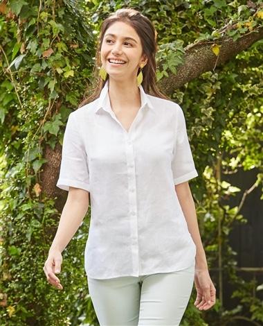 イタリアン麻5分袖シャツ
