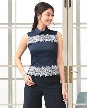 カットワーク刺繍ノースリーブシャツ