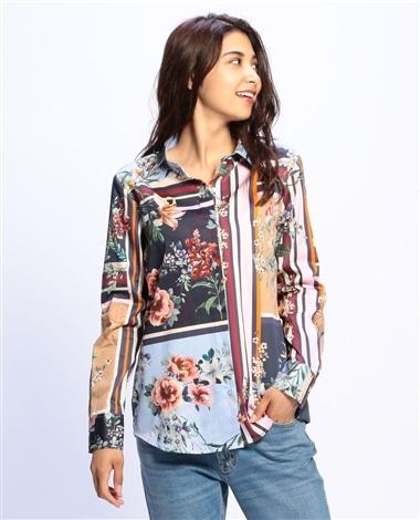 フラワーパネルプリント長袖シャツ