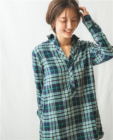 チェック柄チュニックスキッパー襟長袖プルオーバーシャツ