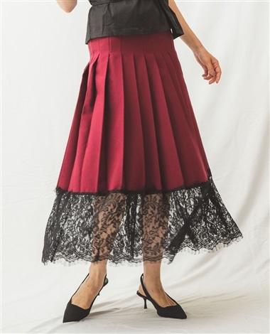 裾レースプリーツスカート