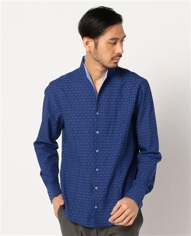 【MEN'S】ハウンドトゥーススタンドカラー長袖シャツ