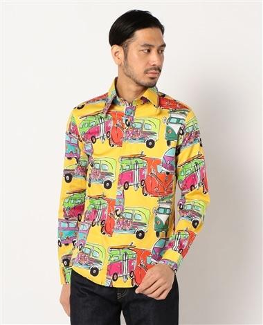 【MEN'S】水彩風プリント長袖シャツオートプリント長袖シャツ