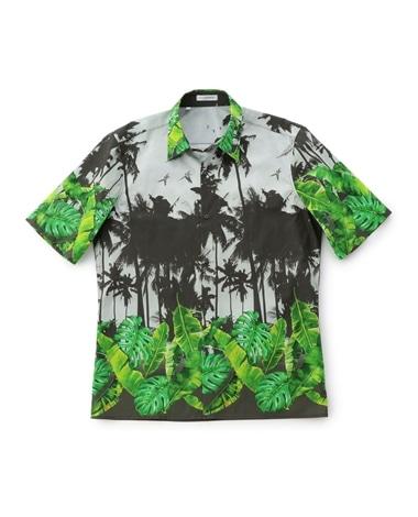 パームツリープリント半袖シャツ