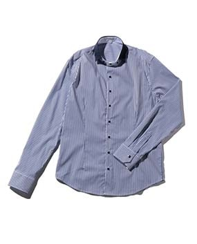 【MEN'S】ストライプデザインカラー長袖シャツ