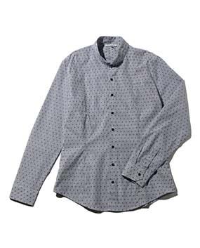 【MEN'S】ストライプスモールスター刺繍マオカラー長袖シャツ