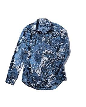 【MEN'S】ボタニカルレイヤープリント長袖コットンシャツ