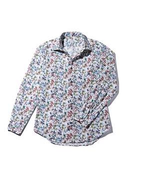 【MEN'S】カラフルリーフプリント長袖コットンシャツ