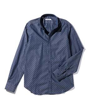 【MEN'S】ドット織り柄ボタンダウン長袖シャツ