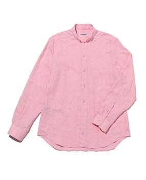 【MEN'S】綿麻バンドカラー長袖シャツ
