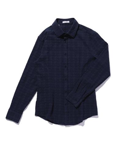 【MEN'S】フラワー柄ストレッチジャカード長袖シャツ