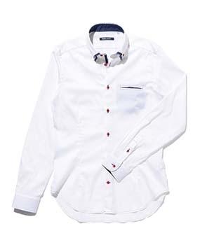 【MEN'S】2枚衿ドットポイント長袖シャツ