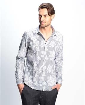 【MEN'S】フラワー刺繍ストライプ長袖シャツ