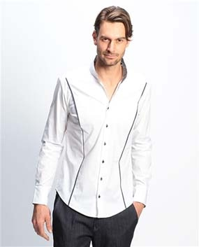 【MEN'S】パネルラインスタンドカラー長袖シャツ