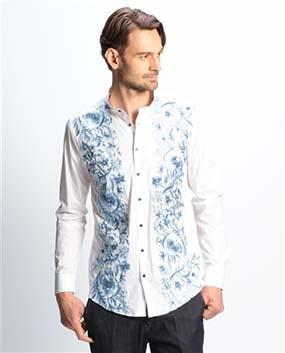 【MEN'S】フラワー刺繍バンドカラー長袖シャツ