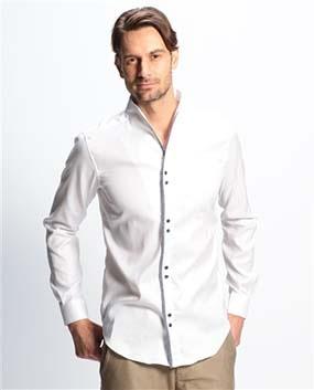 【MEN'S】パイピングスタンドカラー長袖シャツ