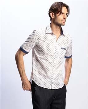 【MEN'S】スモールプリント半袖シャツ